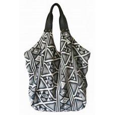 Hava Bag with Leather Handles - Black White Jacquard