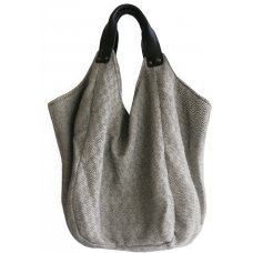 Hava Bag with Leather Handles - Black Diamond