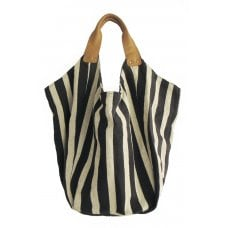 Hava Bag with Leather Handles - Black Stripe