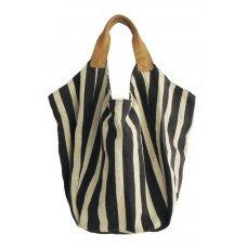 Hava Bag with Leather Handles - Black Stripe