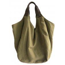 Hava Bag with Leather Handles - Khaki