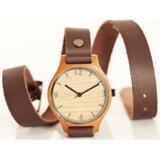 Wrap Around Brown Bamboo Watch