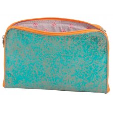 Antique Metallic Recycled Suede Pouch - Blue