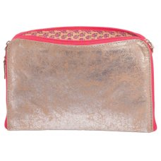 Antique Metallic Recycled Suede Pouch - Pink