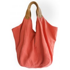 Hava Bag with Leather Handles - Coral