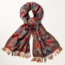 Wave Wool Shawl - Multi-coloured