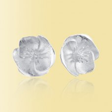 Mosami Poppy 'Remembrance' Silver Stud Earrings