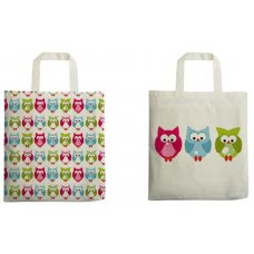 Printed Owl Shoppers - set of 2