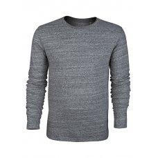 Mens Organic Slub Jersey Round Neck Long Sleeve T-Shirt - Steel