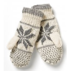 Snowflake Knitted Lined Mittens - Grey