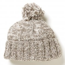 Men's Donegal Bobble Beanie Hat - Grey