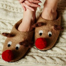 Rudolf Reindeer Christmas Slippers - One Size