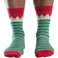 Doris & Dude Mens Green Stripe Bamboo Christmas Socks