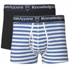 Knowledge Cotton Organic Boxer Shorts - 2 Pack - Striped/Plain