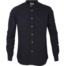 Knowledge Cotton Organic Stand Collar Shirt - Total Eclipse