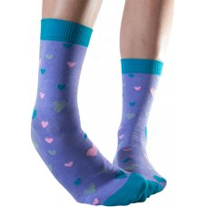 Doris & Dude Womens Lavender Heart Bamboo Socks - Size 3-7