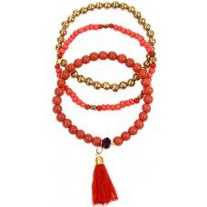 Fair Trade Red & Gold Beaded Bracelets - Set Of 3