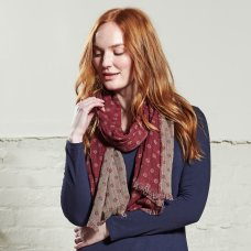 Nomads Handloom Cotton Jacquard Scarf - Cranberry