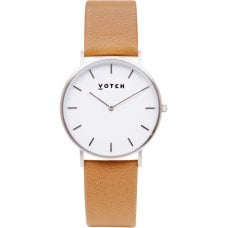 Votch Classic Collection Vegan Leather Watch - Tan & Silver