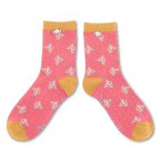 Powder Bamboo Rosebud Ankle Sock