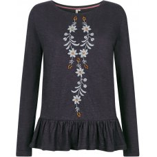 Komodo Lexina Embroidered Hemp T-Shirt - Charcoal