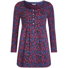 Mudd & Water Francoise Tunic - Navy & Pink Leaf