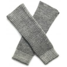 Ally Bee Alpaca Blend Fingerless Wristwarmers - Grey Stripe