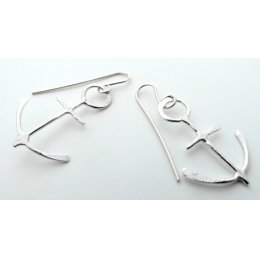 La Jewellery Recycled Anchor Silver Earrings