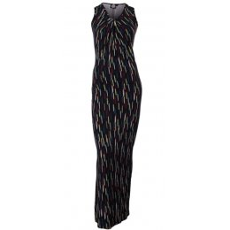 Nancy Dee Nicole Black Brush Strokes Maxi Dress