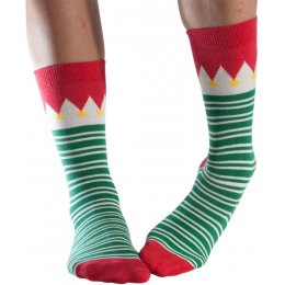 Doris & Dude Green Stripe Christmas Bamboo Socks - UK3-7