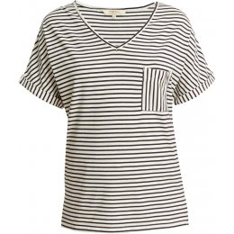 People Tree Organic Short Sleeve Pyjama Top - Navy Stripe