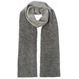 Ally Bee British Alpaca Blend Mid Stripe Scarf - Grey & Cream