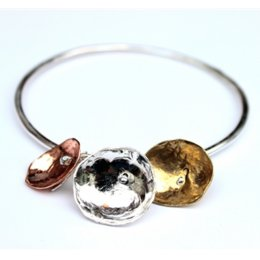 LA Jewellery Nectar Recycled & Ethically Sourced Silver, Copper & Brass Bangle