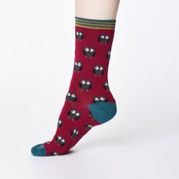 Thought Womens Bamboo Owlie Socks - Cranberry