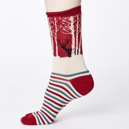 Thought Womens Bamboo Winter Wood Socks - Claret Red