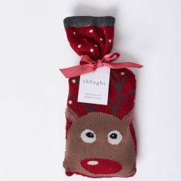 Thought Womens Reindeer Bamboo Socks in a Bag Gift Set
