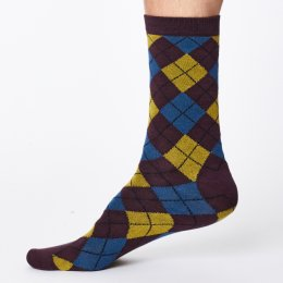 Thought Mens McKinnon Bamboo Socks - Aubergine