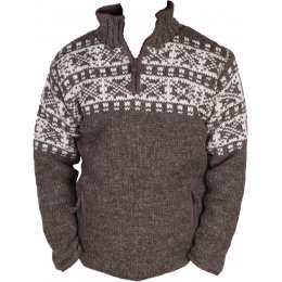Mens New England Half Zip Jumper - Bark