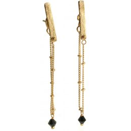 Gold Coloured Bar and Chain Drop Earrings