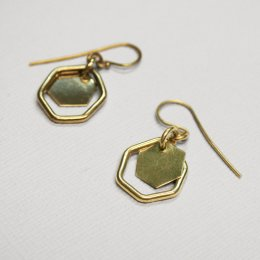 Made Brass Double Hexagon Drop Earrings