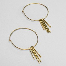 Made Brass Thin Tassel Hoop Earrings