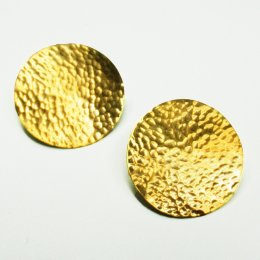 Made Brass Hammered Sheet Disc Earrings