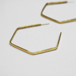 Made Brass Large Hexagon Hoops