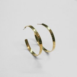 Made Gold Coloured Sheet Hoop Earrings