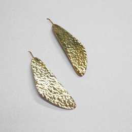 Made Brass Irregular Hammered Flat Lay Earrings