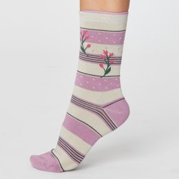 Thought Womens Floral & Stripe Bamboo Socks - Pink