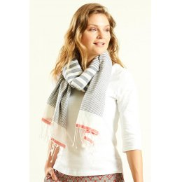 Nomads Navy Cotton Stripe Scarf