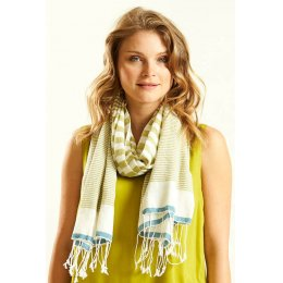 Nomads Avocado Cotton Stripe Scarf