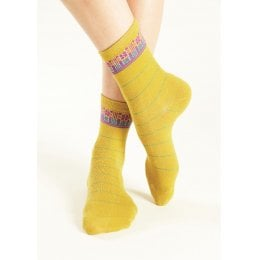 Nomads Check Organic Cotton Socks - Avocado