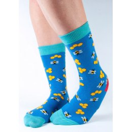 Doris & Dude Womens Blue Bumble Bee Bamboo Socks